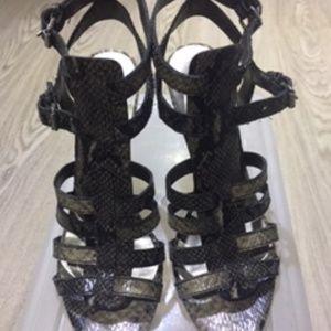 Strappy snake skin printed sandals